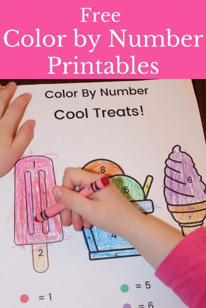 Free Color by Number Printables, ice cream color by number