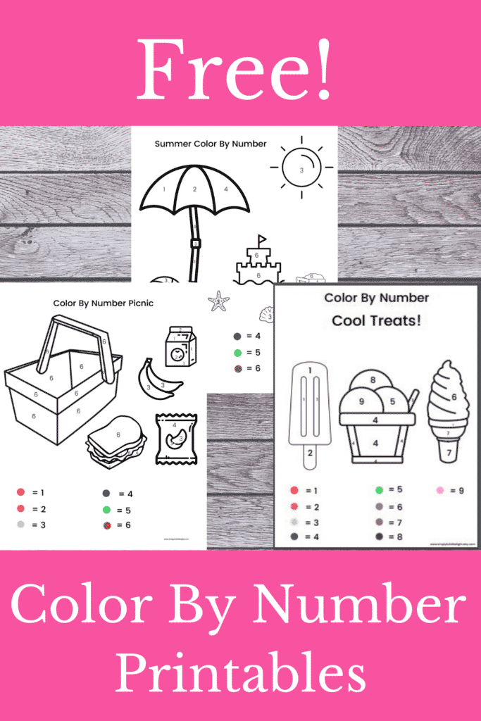 Free! Summer  Color By number printables  - Printable Color by Number Preschool Worksheets (Free!)