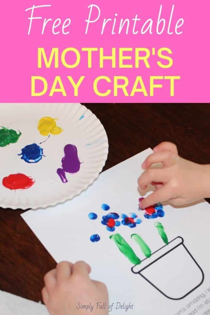 Free Printable Mother's Day craft!  Grab your free poem template and make a simple Mother's Day craft for mom!