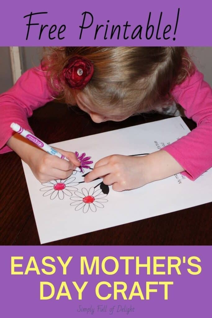 Free Printable!  Make an Easy Mother's Day Craft with this free Mother's Day poem printable!