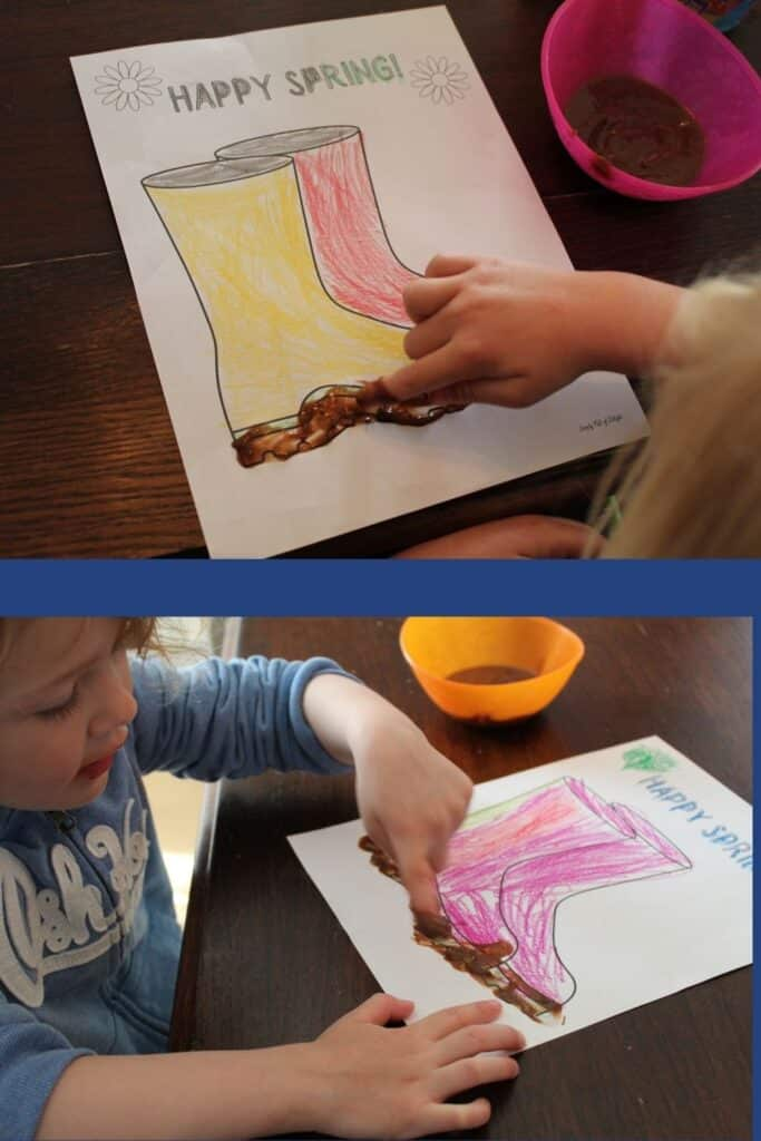 Finger Painting with pudding on the Muddy Boots Toddler Spring Craft