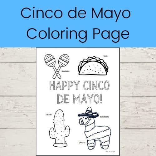 Cinco de Mayo Coloring page featuring maracas, a taco, a cactus, and a burro pinata with a sombrero