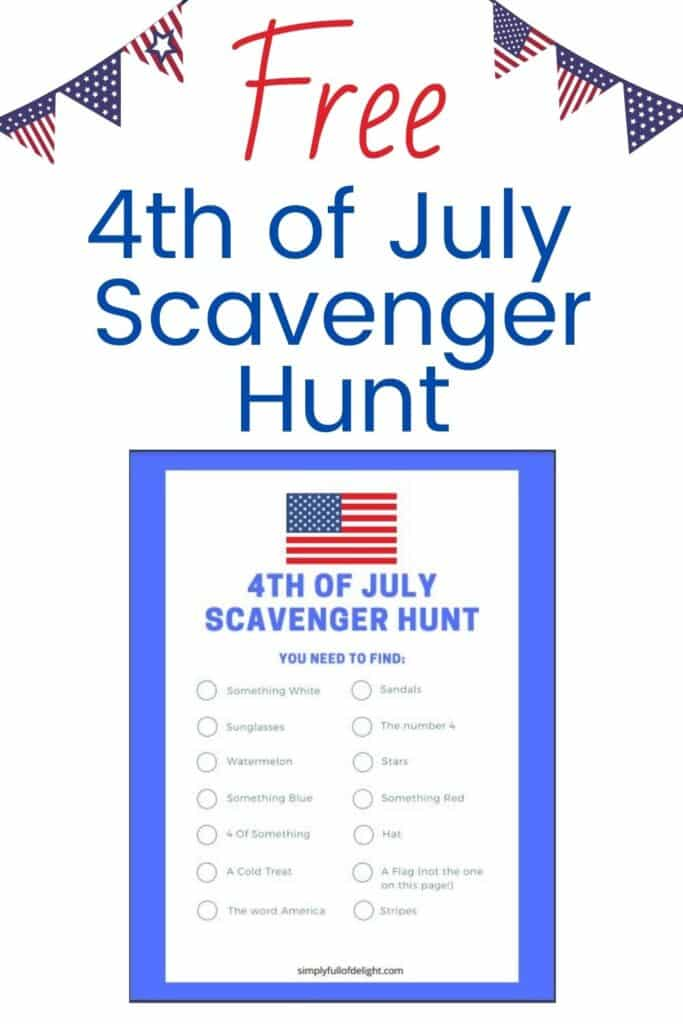 This FREE 4th of July Scavenger Hunt Printable is a great patriotic activity for kids! Enjoy this family fun activity on Independence Day!