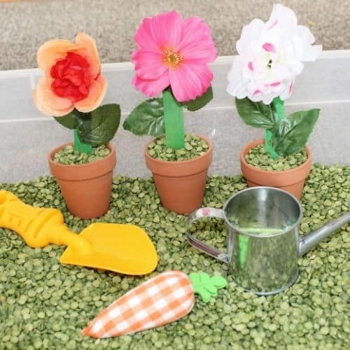 gardening spring sensory bin