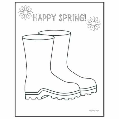 Muddy Boots printable for spring craft for toddlers