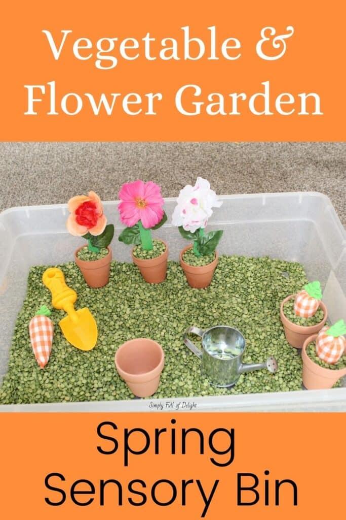 Vegetable and Flower Garden Spring Sensory Bin