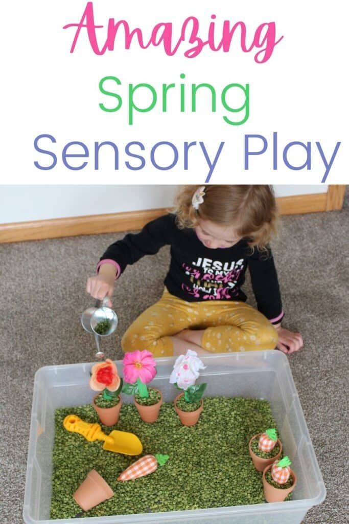 Amazing Spring Sensory Play - sensory bin filled with flowers, pots, carrots, shovels, watering can and more for spring preschool fun!