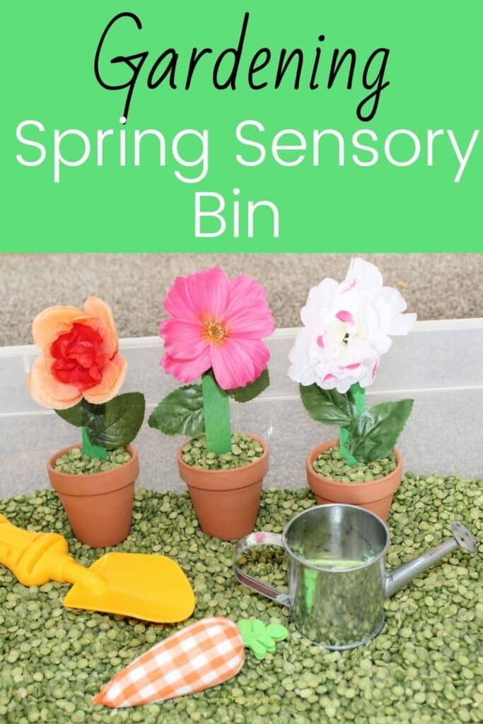 Gardening Spring Sensory Bin - a  Sensory play garden with flowers and vegetables