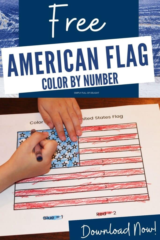 Free American Flag Color by Number - Download your free copy now!  Great for any patriotic holiday including Independence Day, Memorial Day, Labor Day, Flag Day and more!