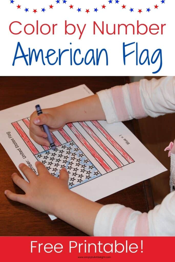 Color by Number American Flag - Free printable for preschool, kindergarten and early elementary grades