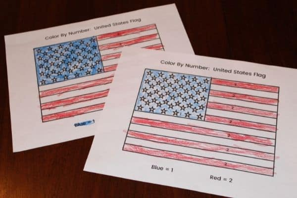 Color by Number American Flag - great for preschool, kindergarten and early elementary.  Grab your free printable today