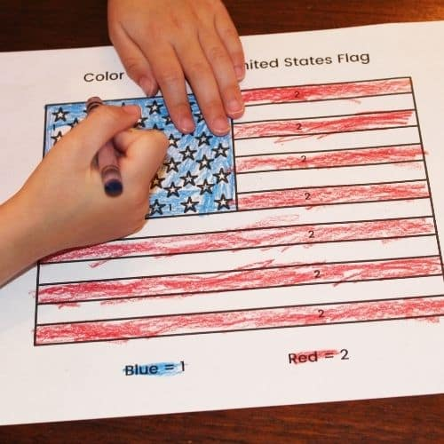 color by number united states flag