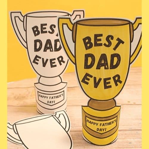 color your own trophy for Dad by the KTC