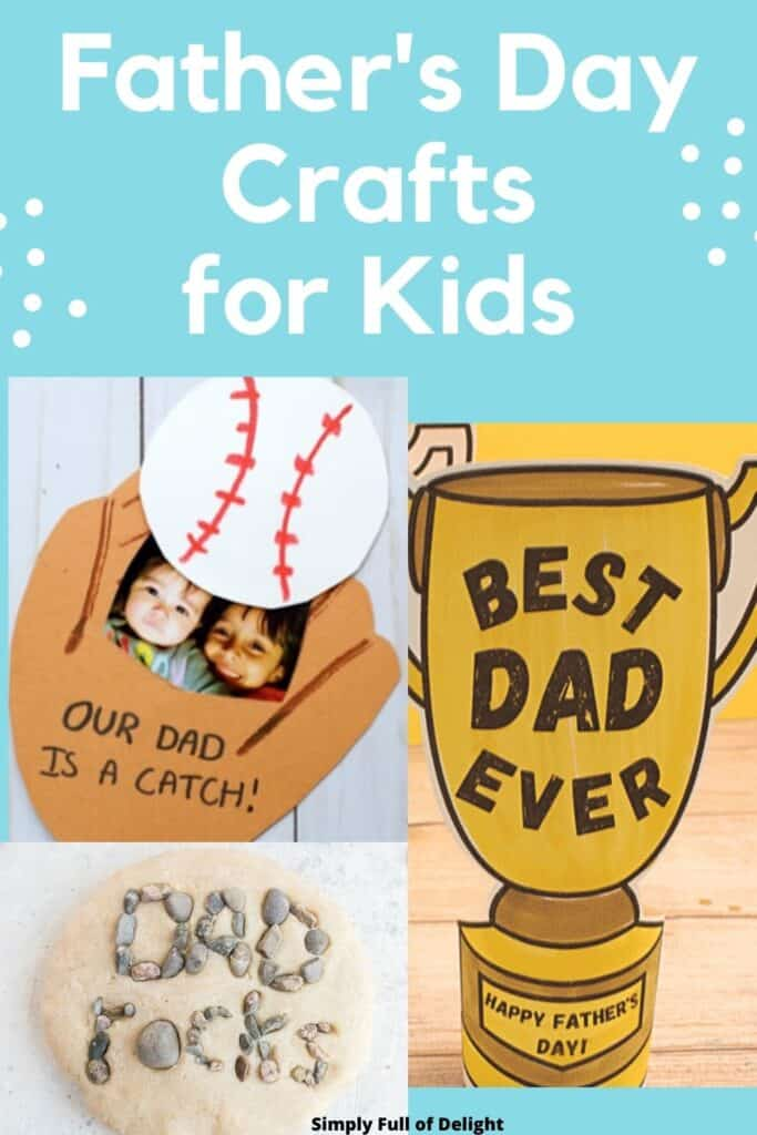 Father's Day Crafts for Kids!  Here's 22 ideas for homemade gifts for dad including a 3-D trophy, a Dad Rocks paperweight, a pop up baseball card....and MORE!
