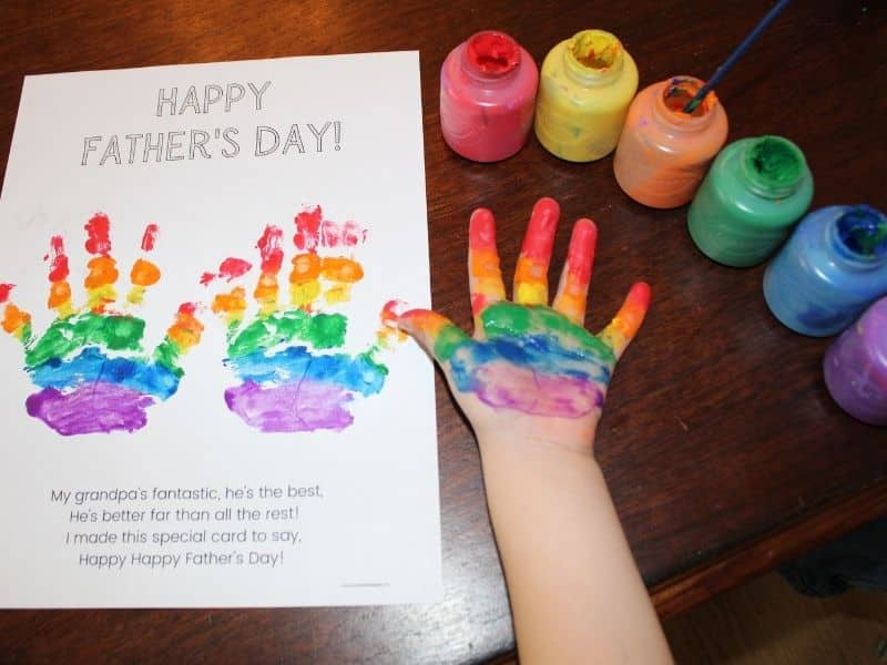 Father's Day Poem Printable - Rainbow Handprint Craft by Simply Full of Delight