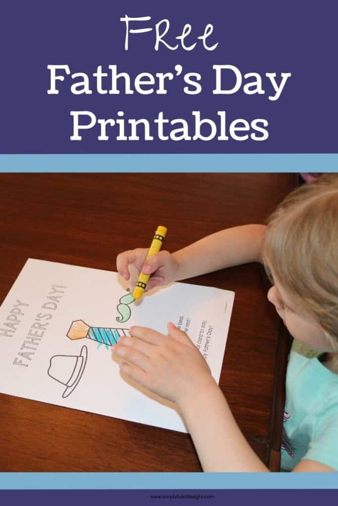 Free Father's Day Printables set - Child coloring Father's Day picture featuring a poem with a tie, hat, and mustache