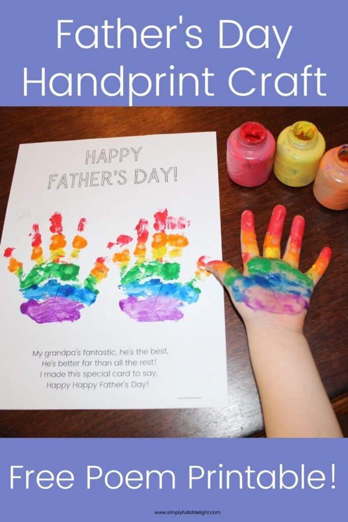Father's day Handprint craft - rainbow handprint craft with free father's day poem printable