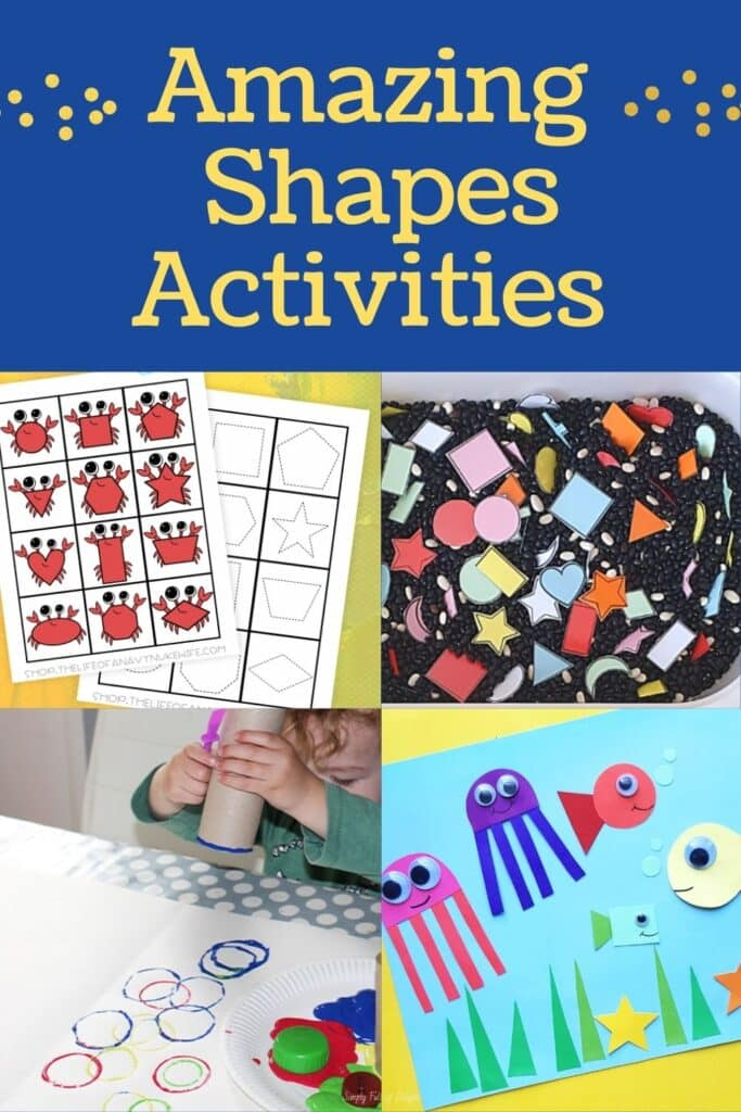 Amazing Shapes activities  for toddlers and preschoolers -There's  free printables for teaching shapes along with hands-on learning activities including sensory play, matching games, and more!