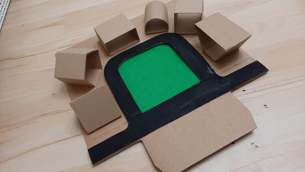 Cardboard Car Parking Shapes activity for toddlers