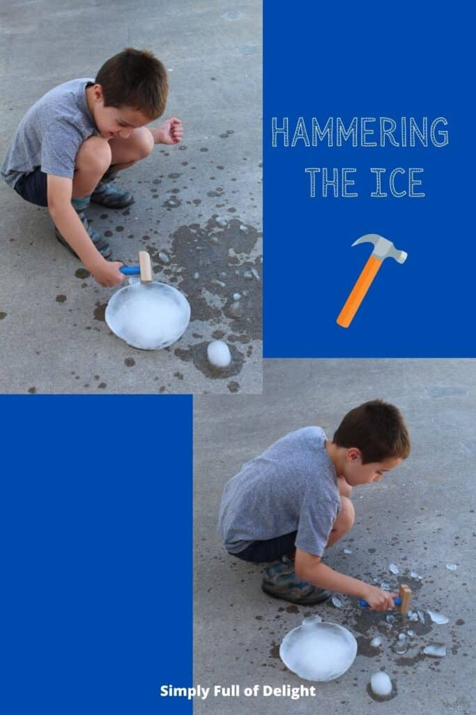Hammering the ice - Pictured - my child hammering the leftover ice block from the igloo.