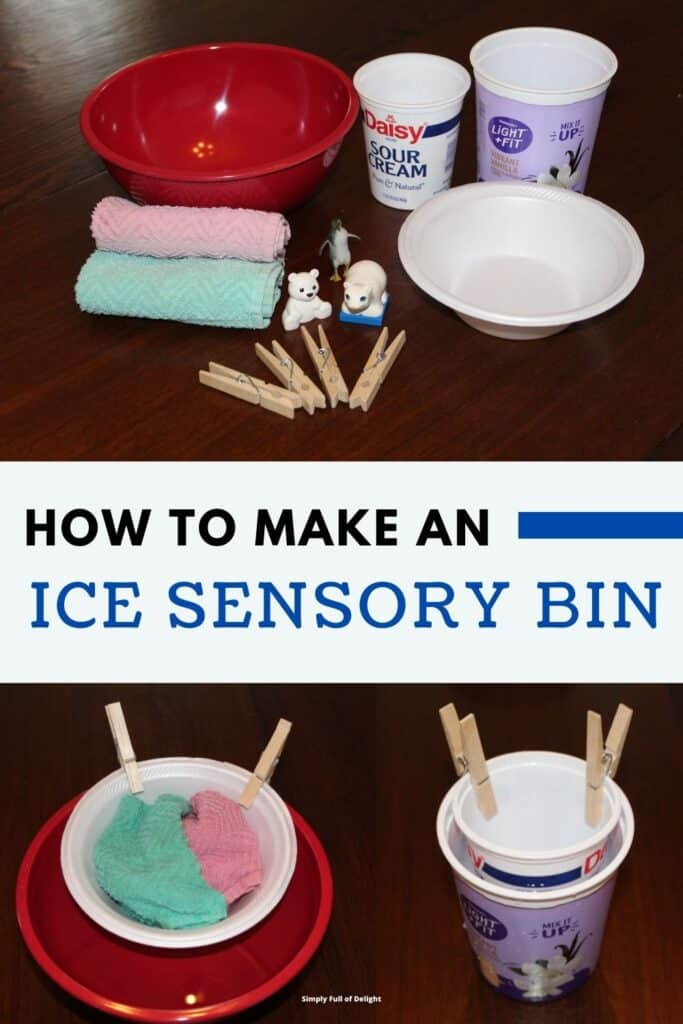 How to make an Ice Sensory Bin - supplies needed for ice sensory play  are shown:  a variety of bowls/containers, clothespins, washcloths, and arctic animal toys.
