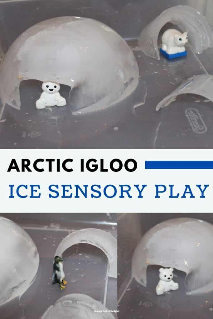 Arctic Igloo Ice Sensory Play - Shown in picture: A variety of miniature igloos in a sensory bin with arctic animals including polar bears and penguins.