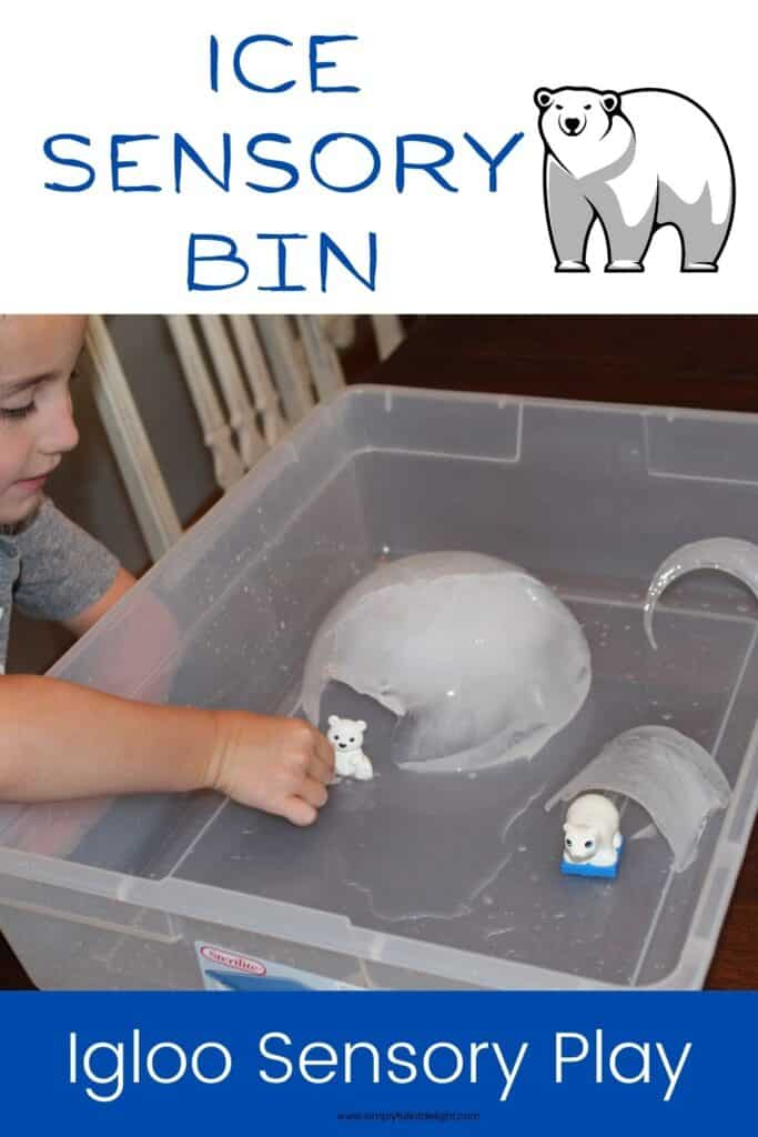 Ice Sensory Bin - This sensory play experience incorporates igloos made of real ice with arctic animals such as polar bears, arctic hares, and penguins