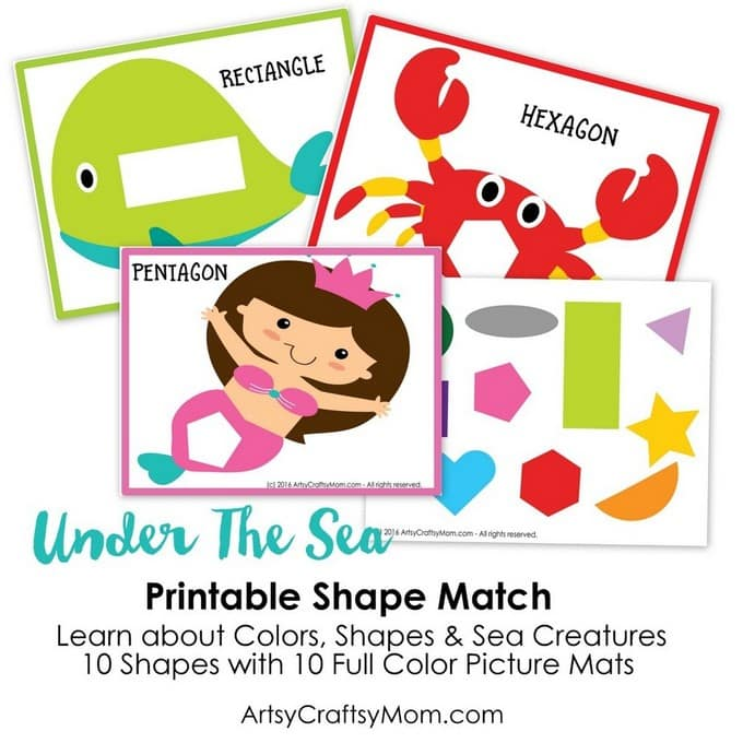 under the sea printable shapes match