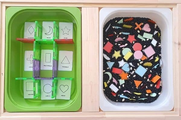 Shape sorting sensory bin
