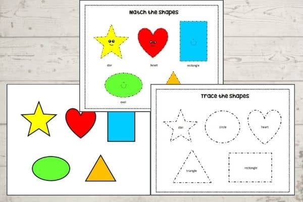 Shapes busy book pages - free printable from Two Pink Peonies