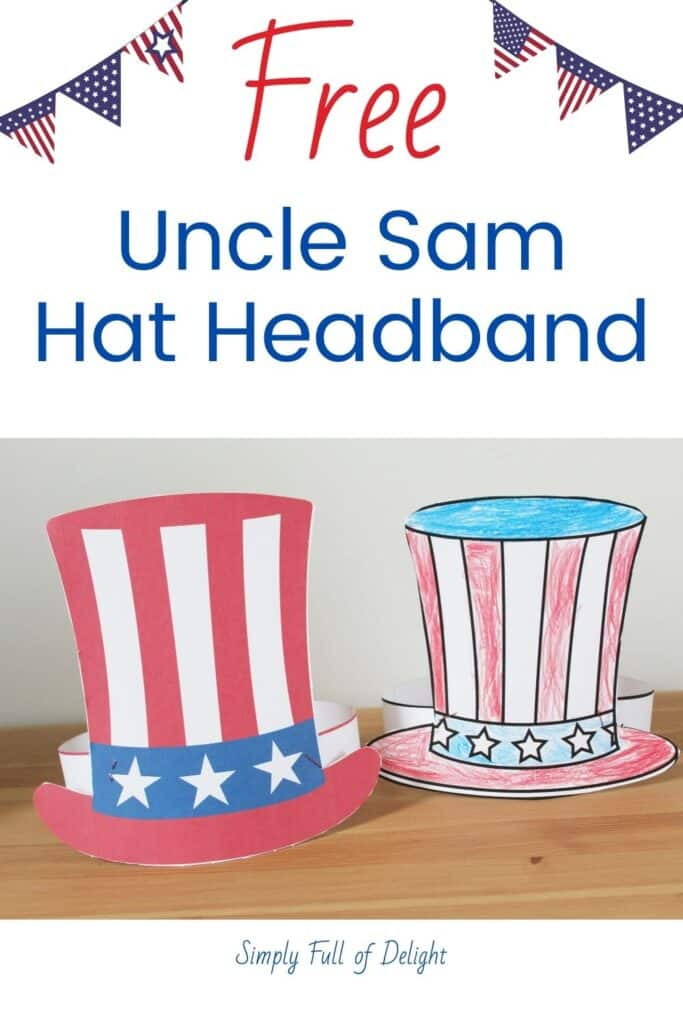 Free Uncle Sam Hat Headband.  Grab your free printable Uncle Sam Hat and have fun coloring your own patriotic hat for 4th of July