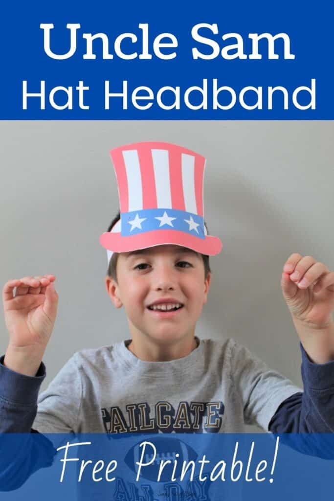 Uncle Sam Hat Headband - Free printable Make your own Patriotic Hat for 4th of July or President's Day!  Great for any patriotic holiday.