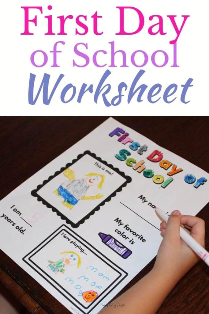 First Day of School Worksheet - perfect for preschool, kindergarten, or 1st grade