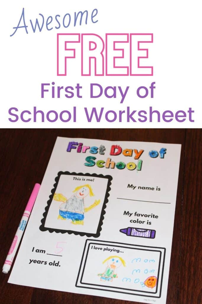 Awesome Free First Day of School Worksheet - perfect first day of school activity for preschool, kindergarten, and 1st grade