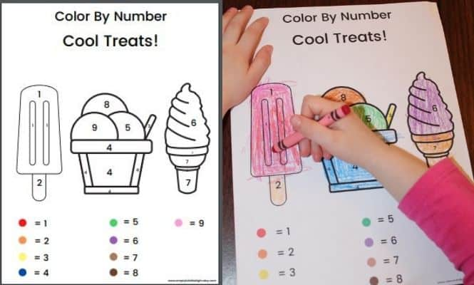 Color by number ice cream pages