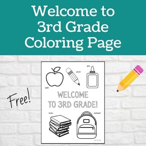 Welcome to 3rd grade coloring page - free back to school coloring page