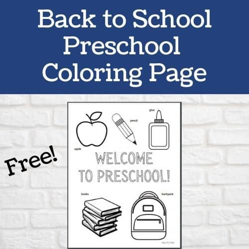 Free Back to School Preschool Coloring Page