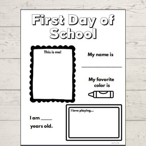 First Day of School Worksheet by Simply Full of Delight