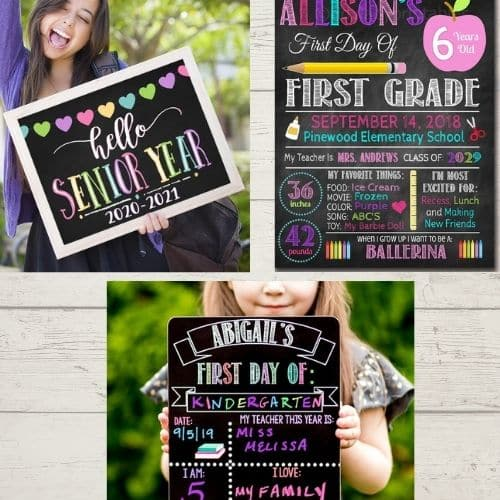 First Day of School chalkboard and back to school photo op ideas