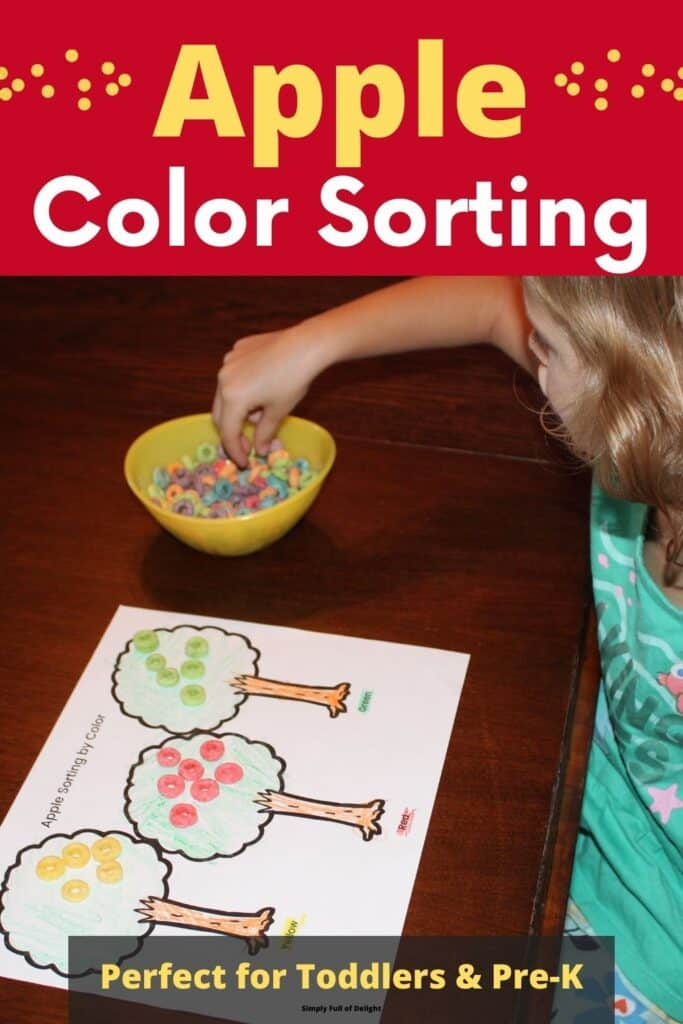 Apple Color Sorting Activity for toddlers and pre-k