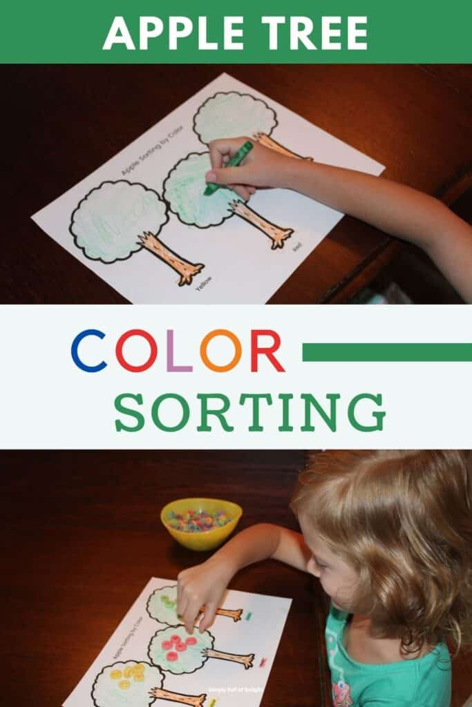 Apple tree color sorting activity - free printable