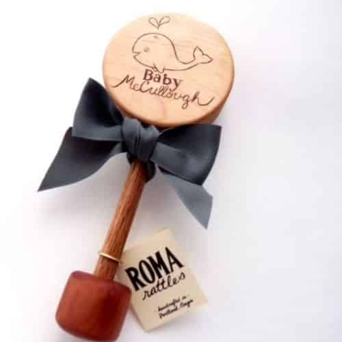 Personalized baby rattle by Roma Rattles on Etsy.