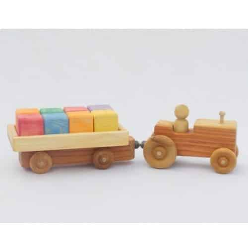 Wooden tractor with wagon by