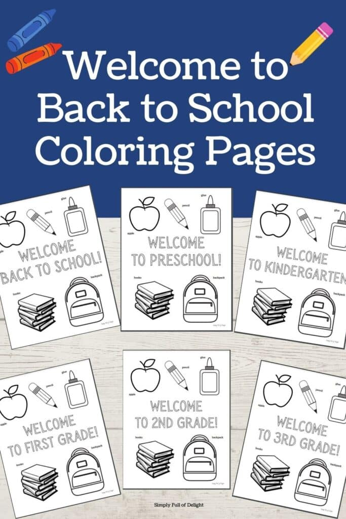 Free Printable Welcome Back to School Coloring Pages -  Grab your free first day of school coloring sheets now!