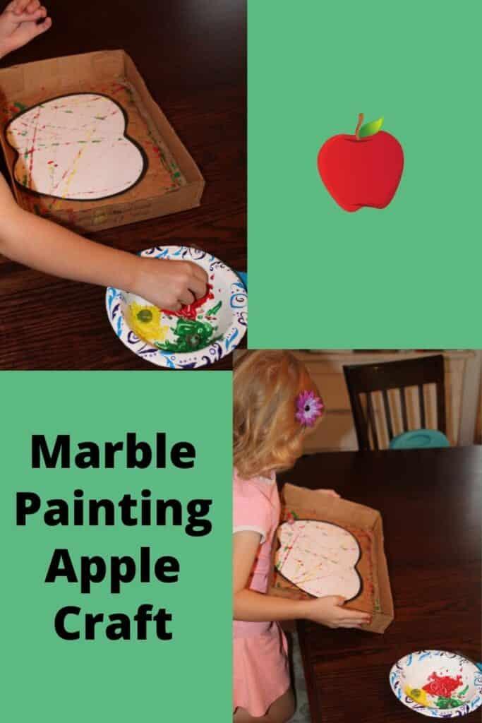 Preschooler Marble Painting an apple craft