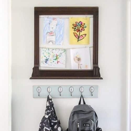 Rustic Art Display - Kids Artwork Display Ideas
