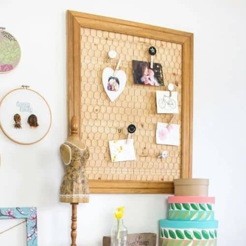 This DIY Memo Board with Chicken Wire is by Sustain My Craft Habit.