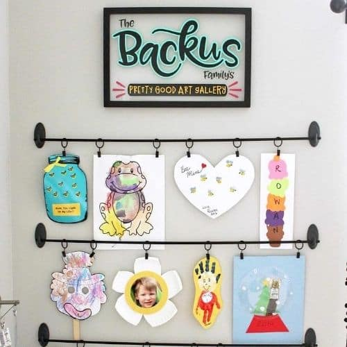 This incredible DIY Kids Art Display is by Where The Smiles Have Been.