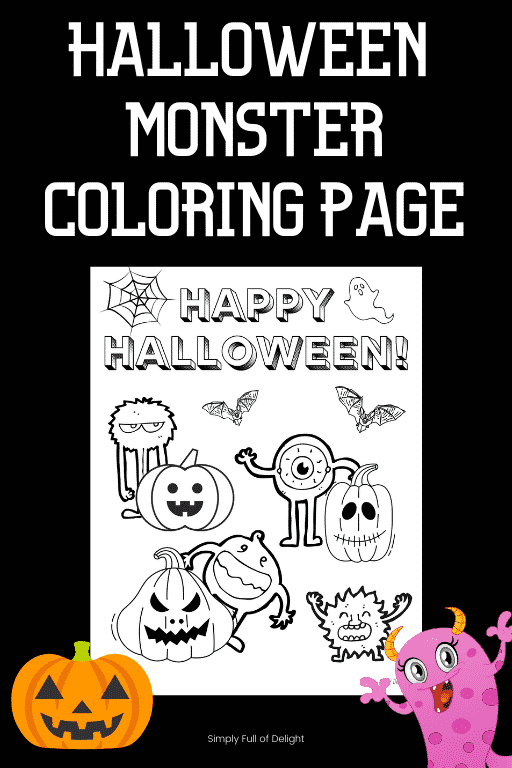 Halloween monster coloring page - free printable monster coloring sheet
