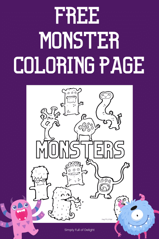 Free Monster Coloring page for kids - features 9 monsters - grab your free monster coloring sheet printable today!